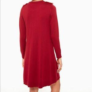 kate spade Dresses - Kate Spade Deep Red Fringe Sweater Dress